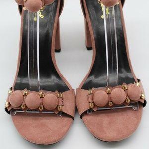 Qupid Mauve Suede Circle Back Zip Heels Size 8